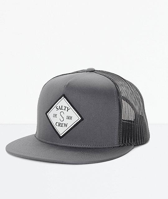 90ec8e60 Salty Crew Tippet Grey & Black Trucker Hat   Zumiez
