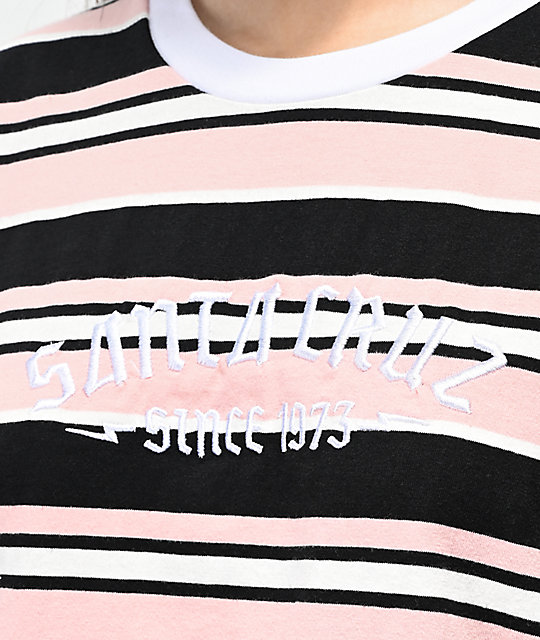 Santa Cruz 1973 Melrose Stripe Pink & Black Long Sleeve T-Shirt