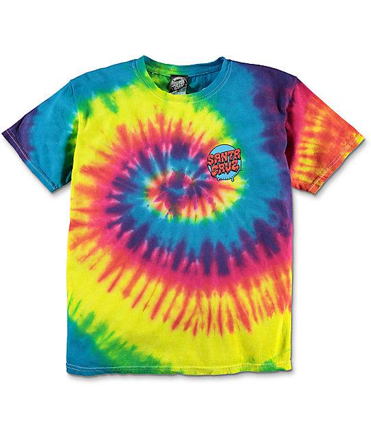 Completely new Santa Cruz Boys Screaming Hand Rainbow Tie Dye T-Shirt   Zumiez CC66