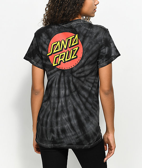Santa Cruz Classic Dot Spider Black Tie Dye T-Shirt