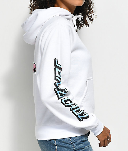 Santa Cruz Double Screaming Hand sudadera con capucha blanca