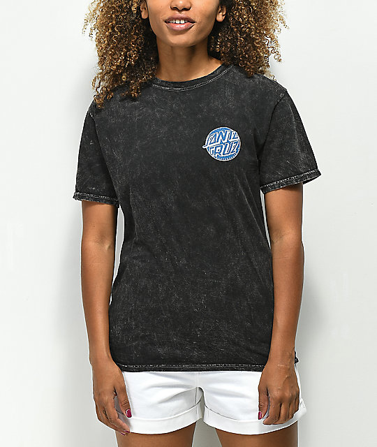 Santa Cruz Fisheye Dot Black Mineral T-Shirt