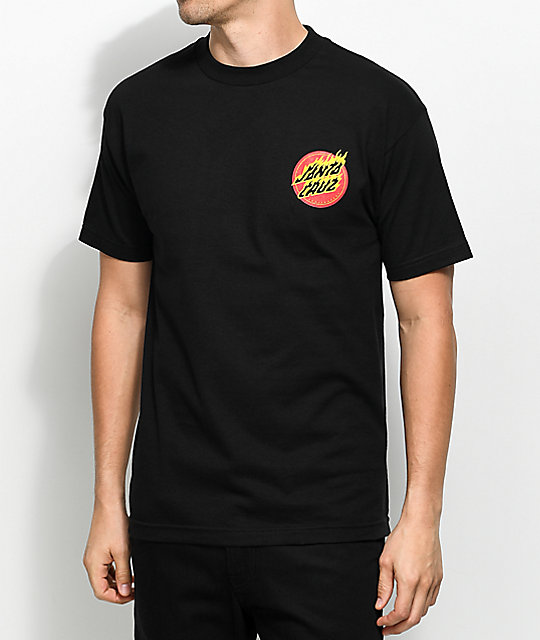 Santa Cruz Flaming Dot Black T-Shirt
