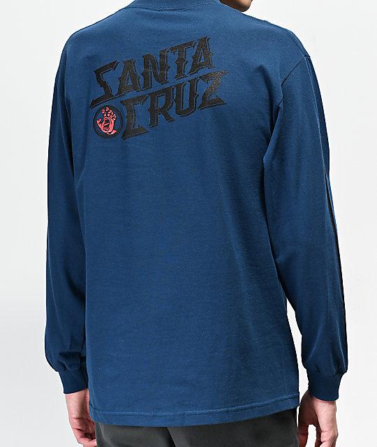 Santa Cruz Hand Stamp Blue Long Sleeve T Shirt by Santa Cruz Skate