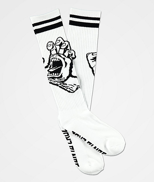 Santa Cruz Hand White & Black Crew Socks
