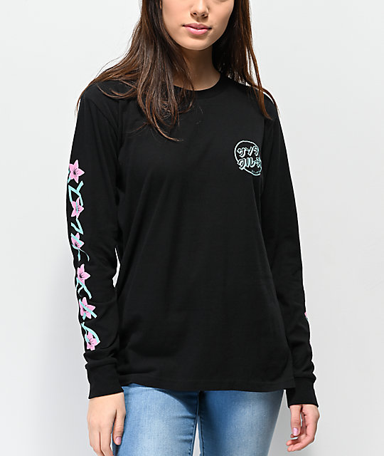 Santa Cruz Japanese Blossom Black Long Sleeve T-Shirt
