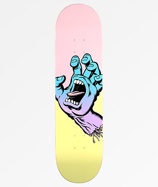 "Santa Cruz Pastel Screaming Hand 8.25"" Skateboard Deck"