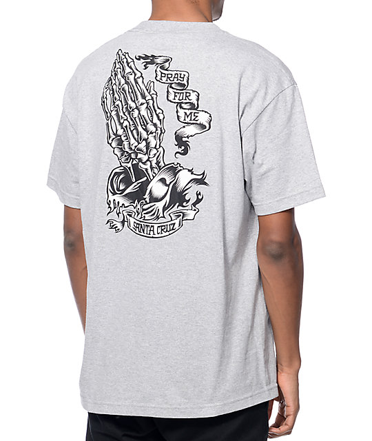 c5a100af9 Santa Cruz Pray For Me Skeleton Heather Grey T-Shirt | Zumiez