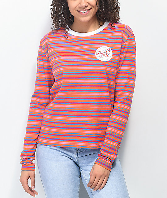 Santa Cruz Reverse Dot Orange, Blue & Pink Long Sleeve T-Shirt