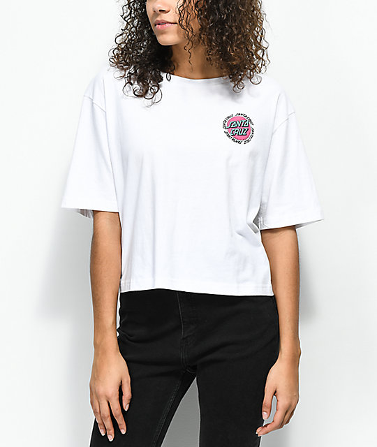 b68309628867a ... Santa Cruz Ringed Dot White Crop T-Shirt ...