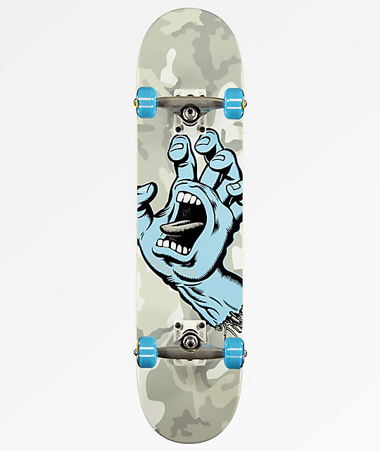 "Santa Cruz Screaming Hand 7.25"" Grey Camo Skateboard Complete"