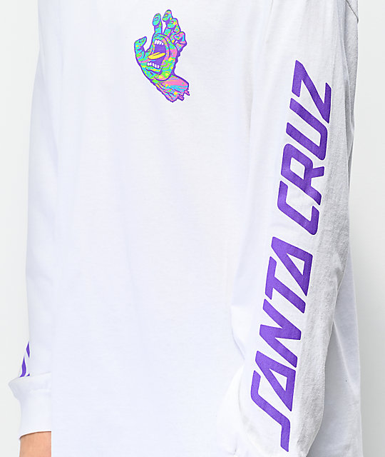 Santa Cruz Spill Hand White Long Sleeve T-Shirt