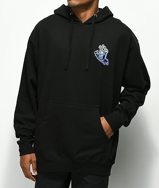 Santa Cruz Throwdown Hand sudadera negra con capucha