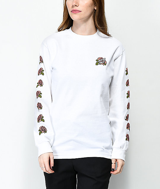 Santa Cruz Victorian Roses White Long Sleeve T-Shirt