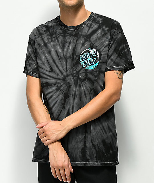 Santa Cruz Wave Dot Black Spider Tie Dye T-Shirt