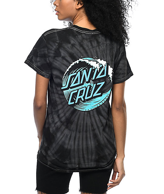Santa Cruz Wave Dot Black Tie Dye T Shirt Zumiez