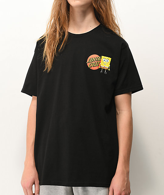 Santa Cruz x SpongeBob SquarePants Group Black T-Shirt