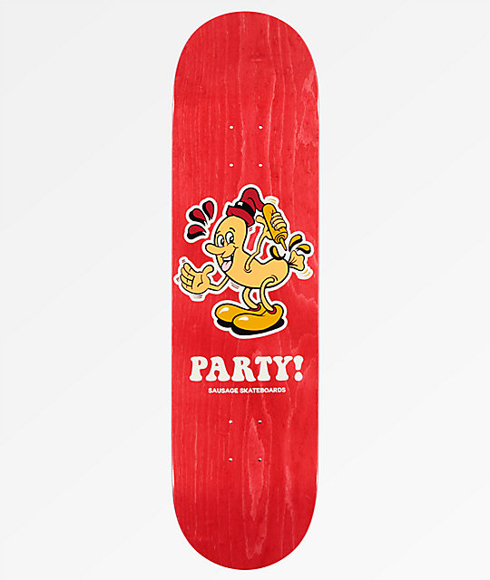 "Sausage Party 8.25"" tabla de skate en rojo"
