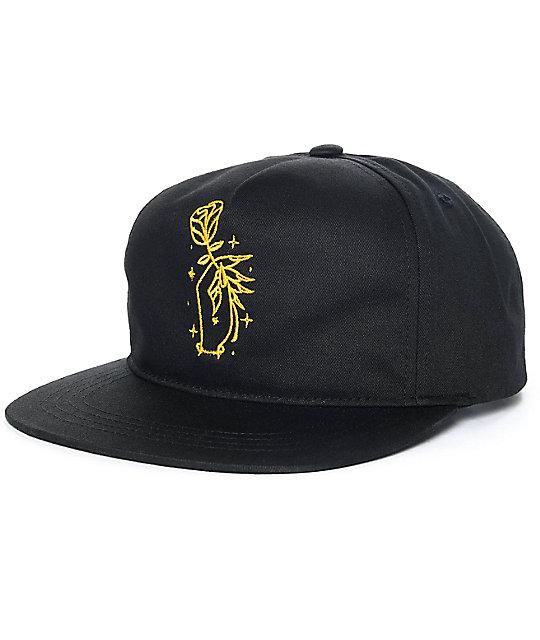 Sausage Rose Hand Black Unstructured Snapback Hat  5a20215443f