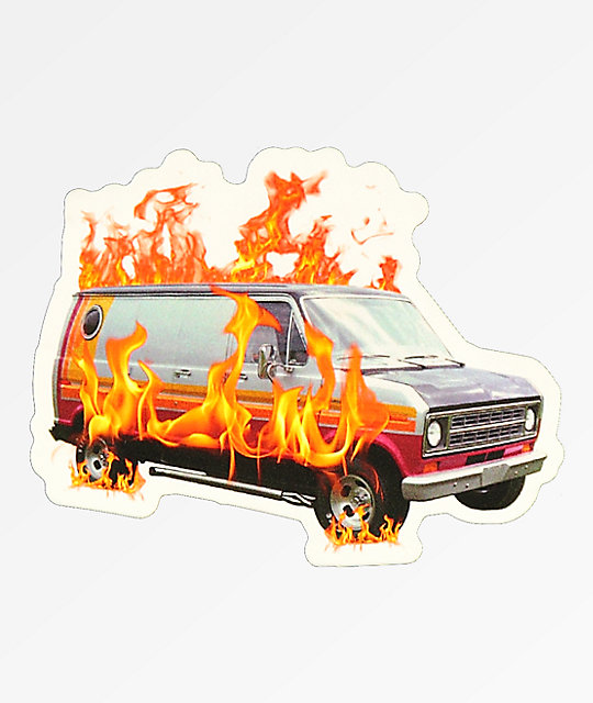 Scum Van On Fire Sticker