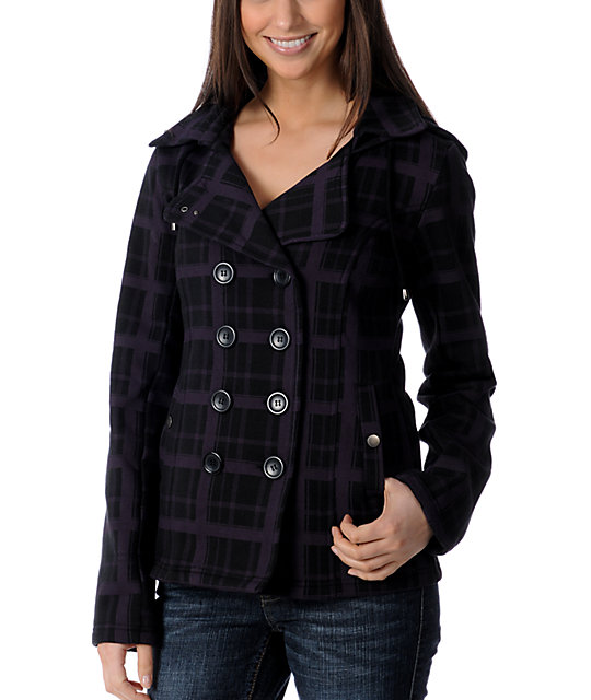 Sebby Dollie Black Plaid Fleece Jacket