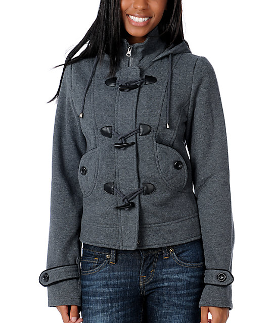 Sebby Port Charcoal Toggled Hooded Jacket