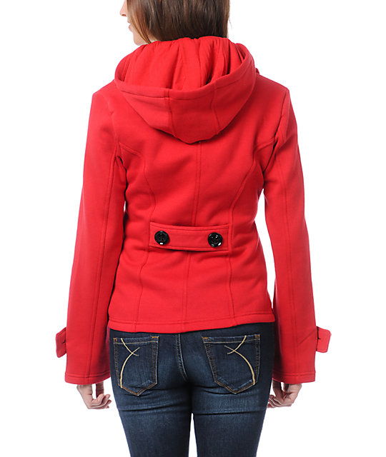 Sebby Red Fleece Hooded Pea Coat