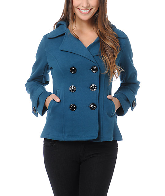Sebby Teal Fleece Hooded Pea Coat