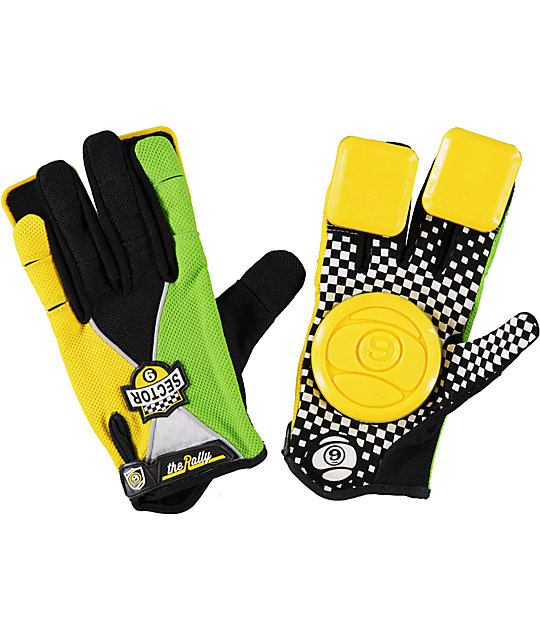 Sector 9 Rally Boys Green Slide Gloves