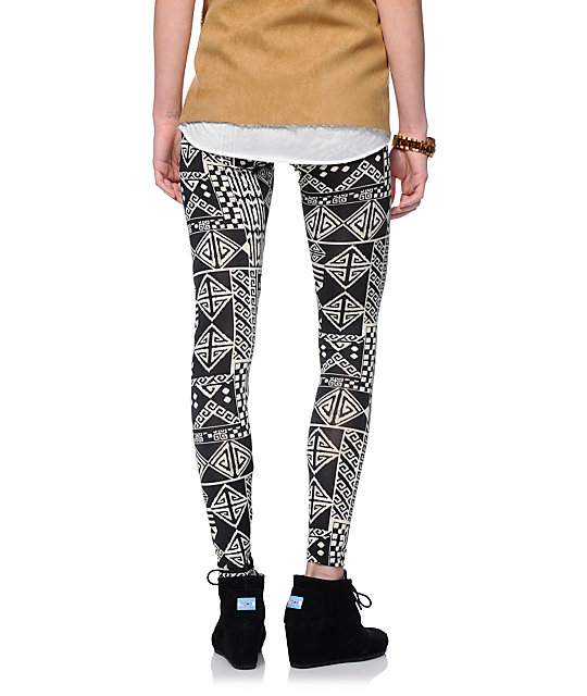 See You Monday Black & Cream Tribal Print Leggings