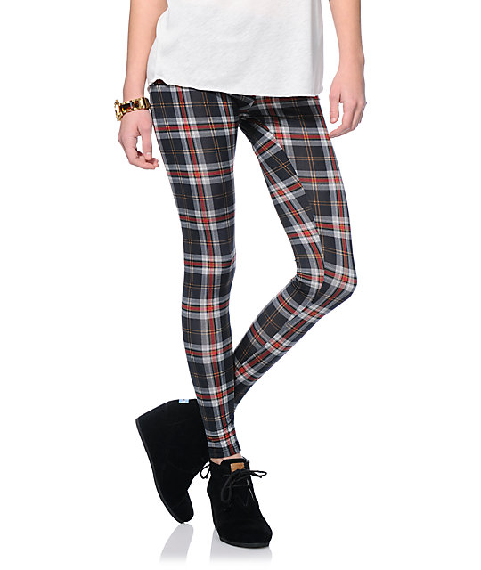 5d9ed25e14b58 See You Monday Black & Red Plaid Leggings | Zumiez