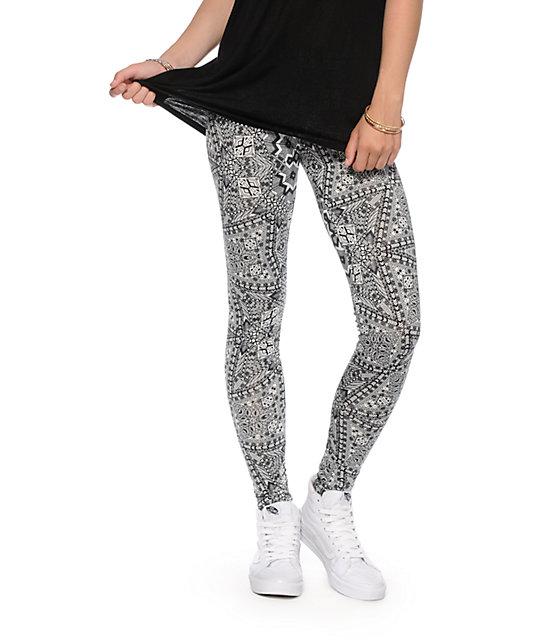 7a081c1286875 See You Monday Black & White Geometric Print Leggings | Zumiez