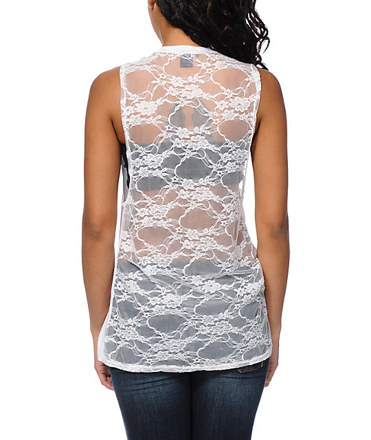 641818921 See You Monday Lace Skull White Lace Muscle Tank Top | Zumiez