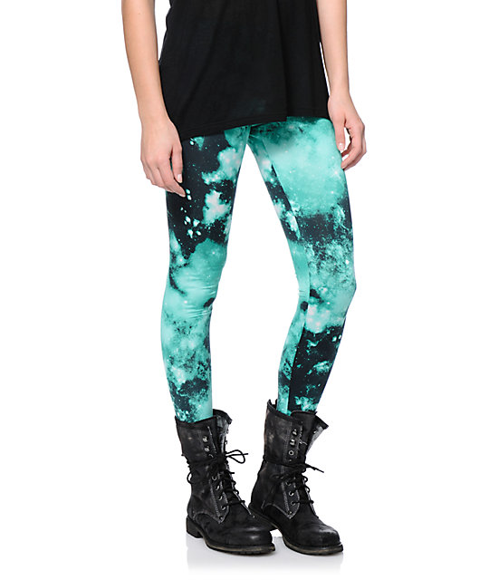 See You Monday Mint Galaxy Leggings