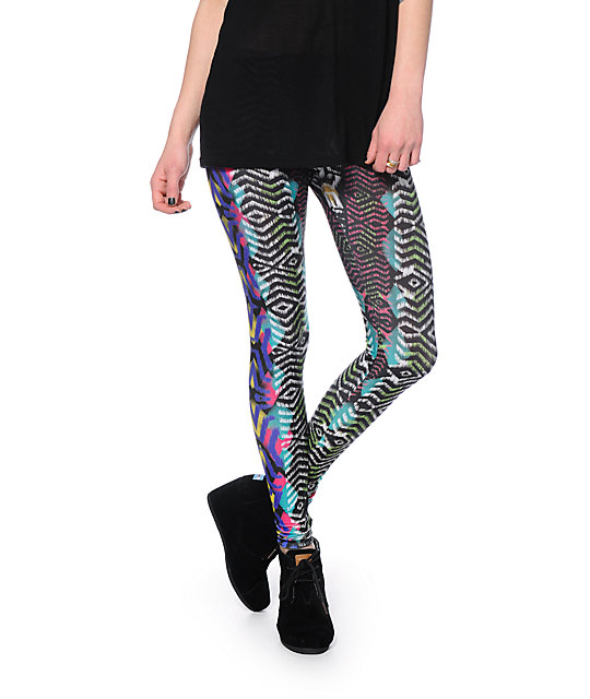 See You Monday Multicolor Distressed Tribal Print Leggings