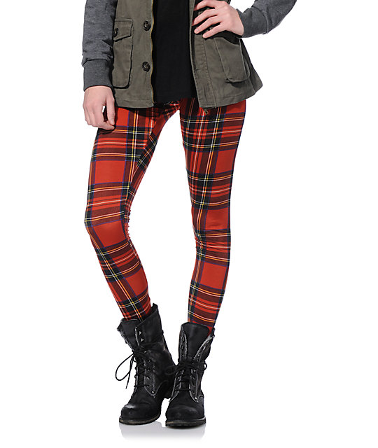 d8777ceb86a3a See You Monday Red Plaid Leggings | Zumiez