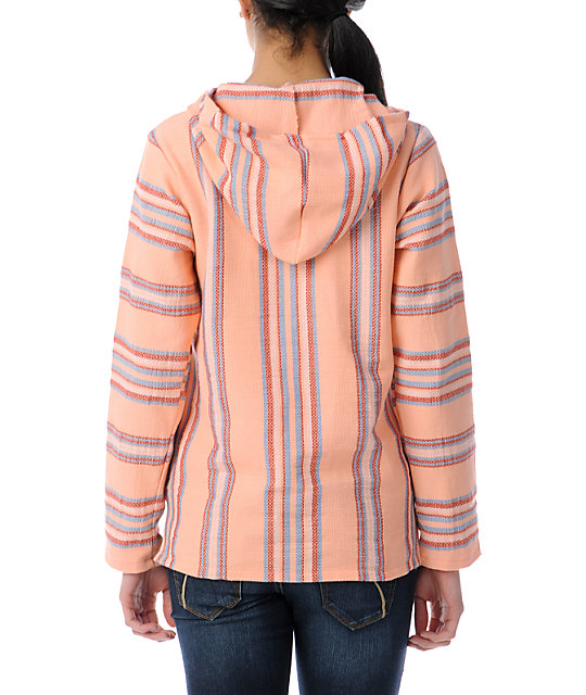 Senor Lopez Coral, Blue & Red Light Weight Baja Poncho