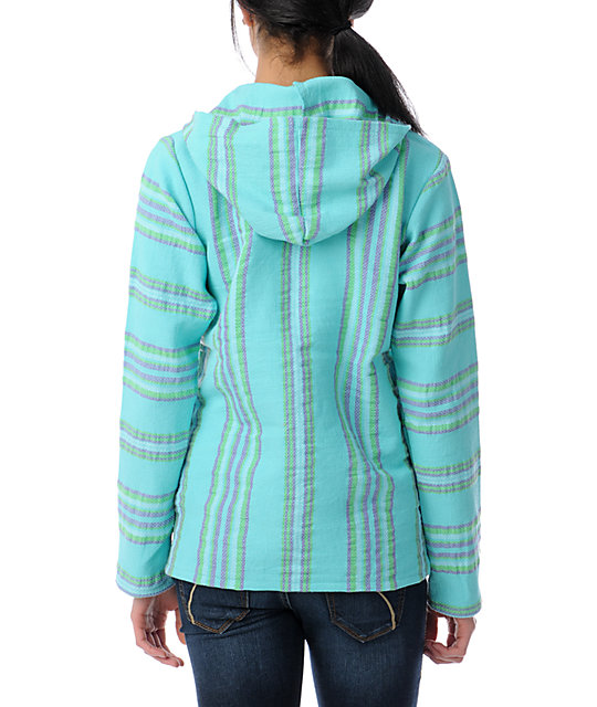 Senor Lopez Turquoise, Pink & Green Light Weight Baja Poncho