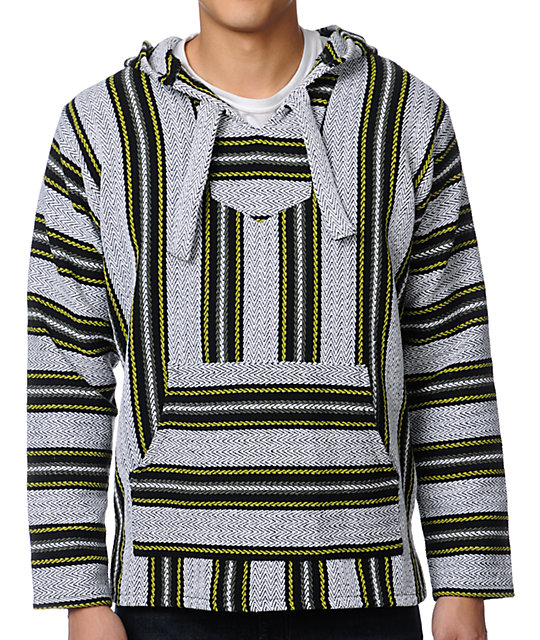 Senor Lopez White, Black, Olive & Lime Poncho
