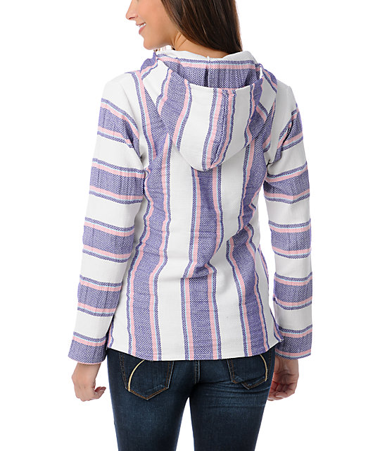 Senor Lopez White Purple & Pink Light Weight Baja Poncho