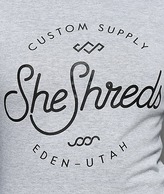 She Shreds Co. Black & Grey Raglan Long Sleeve T-Shirt