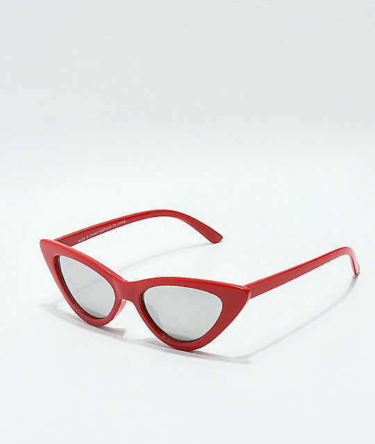 Sheena Red & Silver Mirror Cat Eye Sunglasses