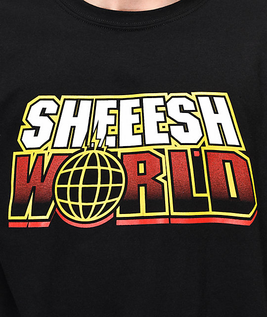 Sheesh World Around The World Black T-Shirt