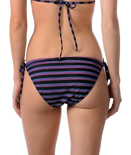 Shi Cozumel Purple Striped Tie Side Bikini Bottom