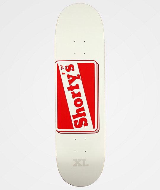 "Shorty's OG Logo 8.5"" White & Red Skateboard Deck"