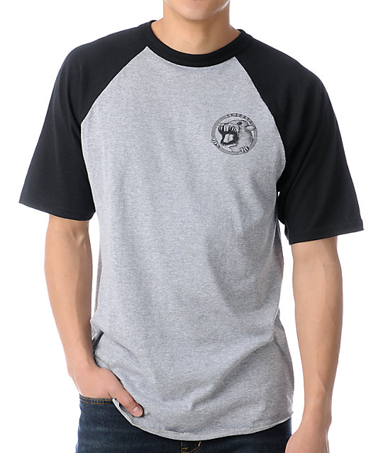 Sk8Rats Short Sleeve Black & Heather Grey Baseball T-Shirt