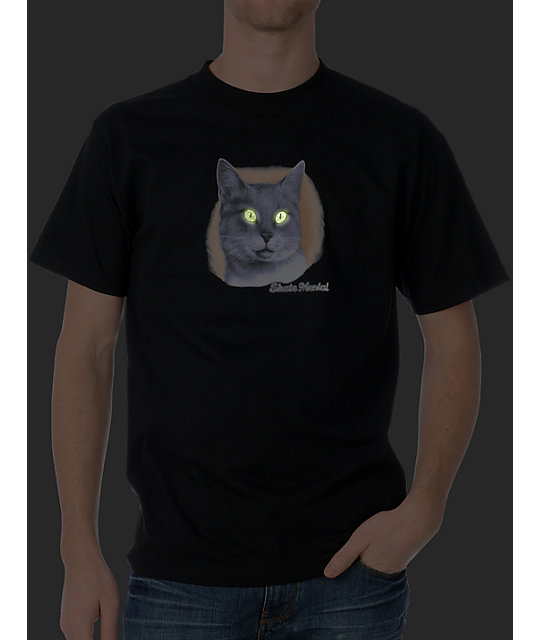 Skate Mental A Cat Glow In The Dark Black T-Shirt