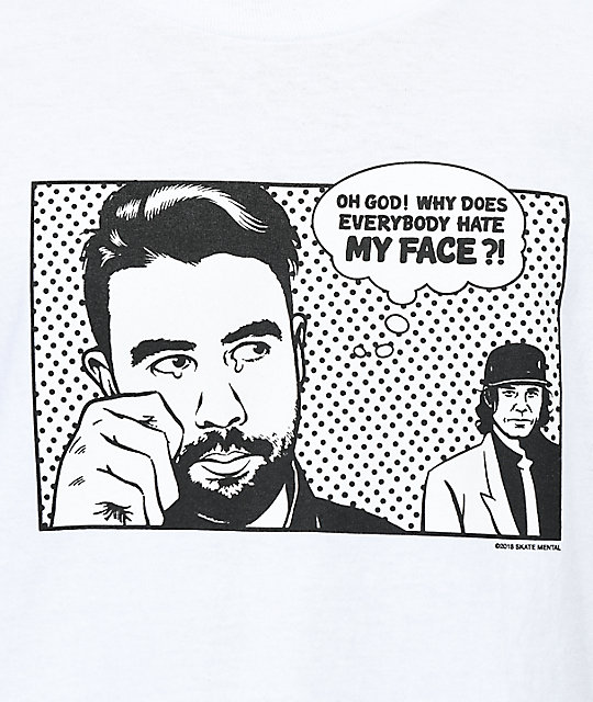 Skate Mental Hate My Face White T-Shirt