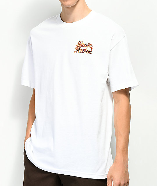 Skate Mental Pizza Dog White T-Shirt
