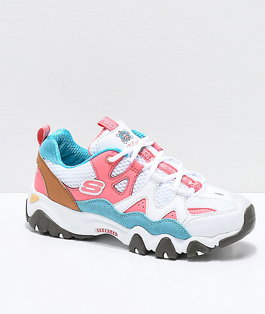 Skechers X One Piece D Lites 2 White Pink And Blue Shoes